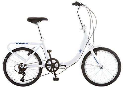Schwinn Loop Adult Folding Bike, 20-inch Wheels, Rear Carry Rack, White