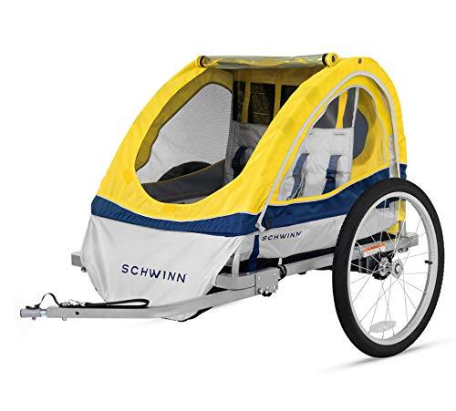 Schwinn Echo Child Bike Trailer, Double Baby Carrier, Canopy, 20-Inch Wheels, Yellow