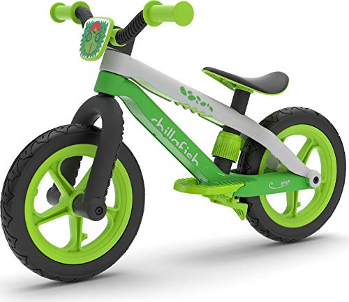 Chillafish Bmxie²: BMX-Styled Toddler Balance Bike with Integrated Footrest & Footbrake, 12' Airless Rubberskin Tires, Ages 2 to 5, Lime