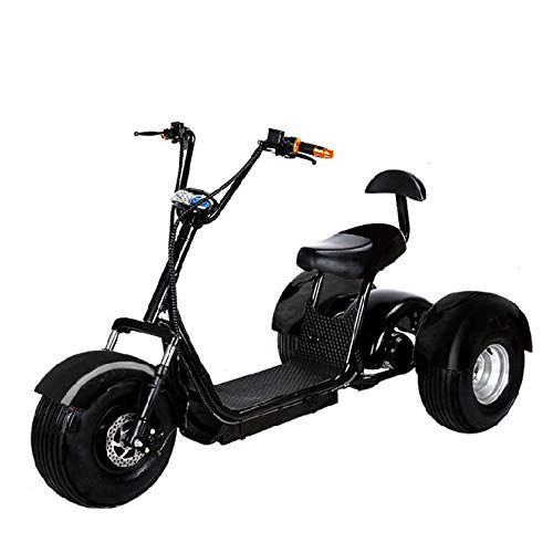 Electric 3 Wheel Fat Front and Back Tire Double Seat Scooter Trike CityCoco Bike eBike, 2000W 60V 20AH, with 2 Sets of Tires and Golf Bag Holder (Black)
