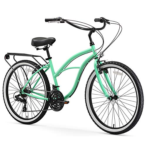 sixthreezero Around The Block Women's 21-Speed Beach Cruiser Bicycle, 24' Wheels, Mint Green with Black Seat and Grips