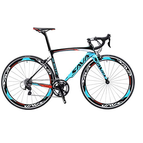 SAVADECK Carbon Road Bike, Warwinds3.0 700C Carbon Fiber Racing Bicycle with SORA 18 Speed Derailleur System and Double V Brake (Blue,52cm)