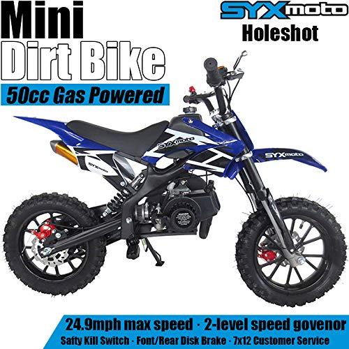 SYX MOTO Kids Mini Dirt Bike Gas Power 2-Stroke 50cc Motorcycle Holeshot Off Road Motorcycle Holeshot Pit Bike, Pull Start, Blue