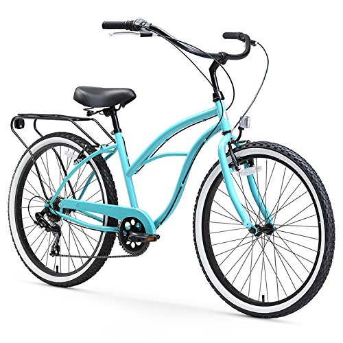 sixthreezero Around The Block Women's Beach Cruiser Bicycle, 7-speed, 26-Inch, Teal Blue with Black Seat and Grips