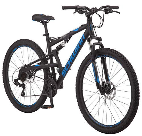 Schwinn S29 Mens Mountain Bike, 29-Inch Wheels, 18-Inch/Medium Aluminum Frame, Dual-Suspension, Mechanical Disc Brakes, Matte Black