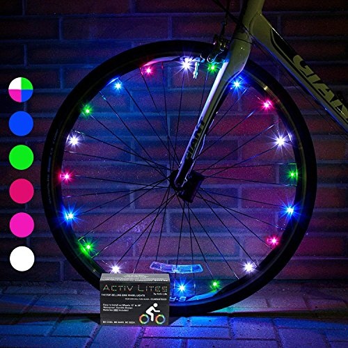 Activ Life LED Bicycle Wheel Lights (2 Tires, Multicolor) Best for Kids Easter Baskets, Top Stocking Stuffers of 2020 Popular Gifts for Children Exercise Toys - Hot Child Bday Party Outdoor Family Fun